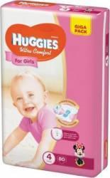 Scutece Huggies Ultra Confort Giga Pack 4 Girl 8-14 kg 80 buc Scutece si servetele