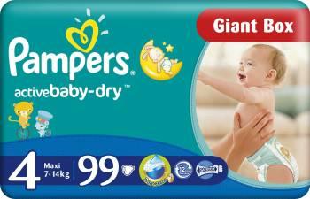 Scutece Pampers Active Baby 4 Maxi Giant Pack Plus 99 buc Scutece si servetele