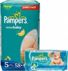 Scutece Pampers Active Baby 5 Junior Pack 58 b.+Servetele Pampers Baby Fresh 64b Scutece si servetele