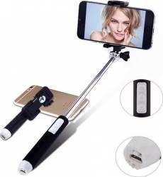 Selfie stick bluetooth cu buton pe maner Negru