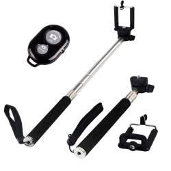 Selfie stick extensibil 100 cm cu suport pentru telefon si telecomanda wireless bluetooth Negru Selfie Stick si Accesorii Camera