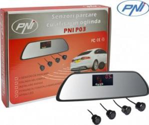Senzori parcare auto cu afisaj in oglinda PNI P03 cu 4 receptori Alarme auto si Senzori de parcare