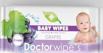Servetele Umede Copii Doctor Wipes Grapes 60 Buc