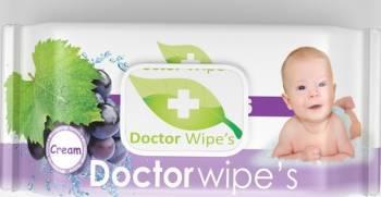 Servetele Umede Copii Doctor Wipes Grapes cu Capac 60 Buc Scutece si servetele