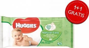 Servetele umede Huggies Natural Care 56 buc 1+1 Gratis Scutece si servetele