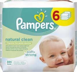 Servetele umede Pampers Natural Clean Baby 6 pachete 384 bucati Scutece si servetele