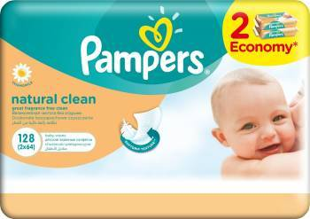 Servetele umede Pampers Natural Clean Duo 2 x 64 buc