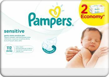 Servetele umede Pampers Sensitive 112 buc Scutece si servetele