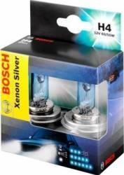 Set 2 becuri auto Bosch H4 12V 60 55W P43t Xenon Silver Becuri si sigurante auto