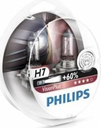 Set 2 becuri auto cu halogen pentru far Philips H7 12V 55W PX26d Vision Plus Becuri si sigurante auto