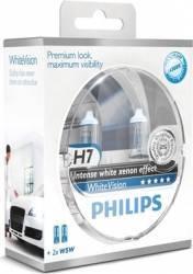 Set 2 becuri auto cu halogen pentru far Philips H7 12V 55W PX26d White Vision Becuri si sigurante auto