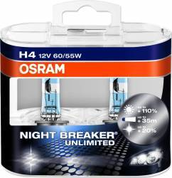 Set 2 Becuri Auto Osram H4 12v 60 55w P43t Night Breaker Unlimited