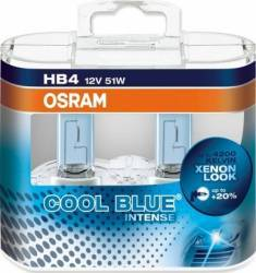 Set 2 becuri auto Osram HB4 12V 51W P22d Cool Blue Intense