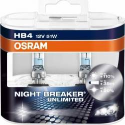 Set 2 becuri auto Osram HB4 12V 51W P22d Night Breaker Unlimited