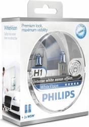 Set 2 becuri Philips H1 12V 55W P14.5s White Vision Becuri si sigurante auto