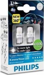 Set 2 becuri Philips LED W5W 12V 1W W2.1x9.5d