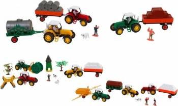 Set 3 tractoare cu remorca Globo si alte accesorii pentru copii Machete