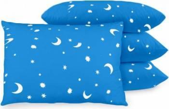 Set 4 Perne Nova House Luna-Stele 50x70 cm, Albastru Perne
