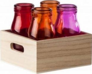 Set 4 Sticle Colorate Heinner 200 ML + Tava Articole pentru servit