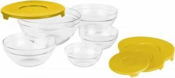 Set 5 Boluri Sticla Heinner + Capace Yellow Accesorii bucatarie