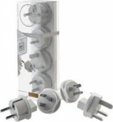 Set 4 adaptoare priza calatorie Allocacoc 3600 Alb Prize
