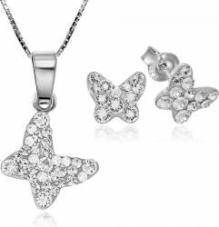 Set Argint 925 placat cu rodiu cu cristale Swarovski Chaton Butterfly Crystal Clear Surub + Lant Seturi