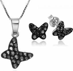 Set Argint 925 placat cu rodiu cu cristale Swarovski Chaton Butterfly Jet Hematite Surub + Lant Seturi