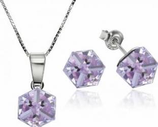 Set Argint 925 placat cu rodiu cu cristale Swarovski Cubic 6mm Violet Surub + Lant Seturi