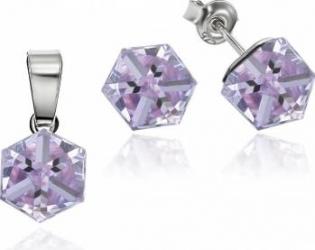 Set Argint 925 placat cu rodiu cu cristale Swarovski Cubic 6mm Violet Surub Seturi