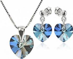 Set Argint 925 placat cu rodiu cu cristale Swarovski Heart Bermuda Blue 10 mm Surub + Lant Seturi