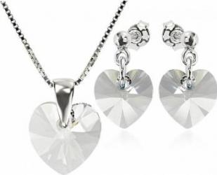 Set Argint 925 placat cu rodiu cu cristale Swarovski Heart Crystal Clear 10 mm Surub + Lant Seturi
