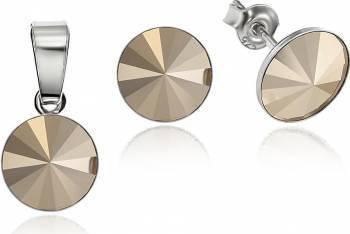 Set Argint 925 placat cu rodiu cu cristale Swarovski Rivoli Metalic Glod 8mm Surub Seturi