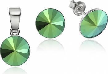 Set Argint 925 placat cu rodiu cu cristale Swarovski Rivoli Scarabeus Green 8mm Surub Seturi