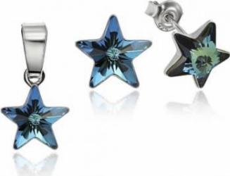 Set Argint 925 placat cu rodiu cu cristale Swarovski Star 10mm Bermuda Blue Surub Seturi
