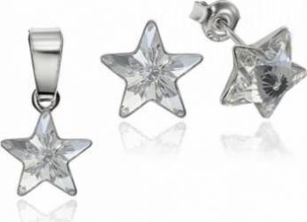 Set Argint 925 placat cu rodiu cu cristale Swarovski Star 10mm Crystal Clear Surub Seturi