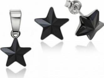 Set Argint 925 placat cu rodiu cu cristale Swarovski Star 10mm Jet Surub Seturi