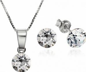 Set Argint 925 placat cu rodiu cu cristale Swarovski Xirius Crystal Clear 6mm Surub + Lant