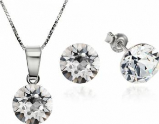 Set Argint 925 placat cu rodiu cu cristale Swarovski Xirius Crystal Clear 8mm Surub + Lant