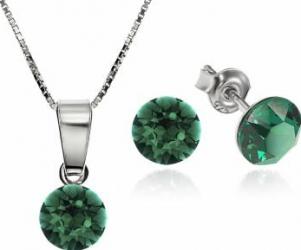Set Argint 925 placat cu rodiu cu cristale Swarovski Xirius Emerald 6mm Surub + Lant