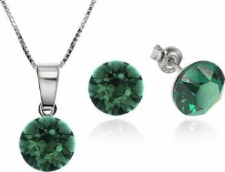 Set Argint 925 placat cu rodiu cu cristale Swarovski Xirius Emerald 8mm Surub + Lant