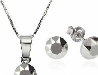 Set Argint 925 placat cu rodiu cu cristale Swarovski Xirius Light Chrome 6mm Surub + Lant