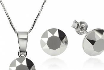 Set Argint 925 placat cu rodiu cu cristale Swarovski Xirius Light Chrome 8mm Surub + Lant