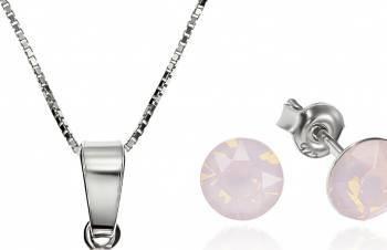 Set Argint 925 placat cu rodiu cu cristale Swarovski Xirius Opal Rose 6mm Surub + Lant