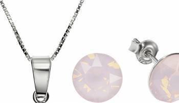Set Argint 925 placat cu rodiu cu cristale Swarovski Xirius Opal Rose 8mm Surub + Lant Seturi