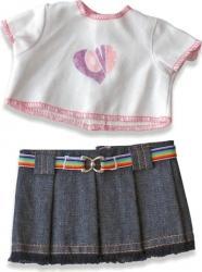 Set bluza si fusta denim pentru papusi Miniland 21 cm Papusi figurine si accesorii papusi