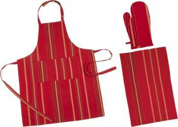 Set bucatarie 3 piese rosu Accesorii bucatarie