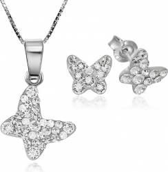 Set Argint 925 Cercei Butterfly Cu Pietre Mici Si Lant Inclus Alb Seturi