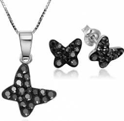 Set Argint 925 Cercei Butterfly Cu Pietre Mici Si Lant Inclus Negru Seturi