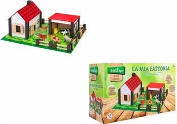 Set constructie copii Ferma Animalelor Globo Legnoland 37772 cu animale incluse Jucarii Interactive