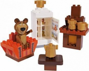 Set constructie cuburi Unico Masha si Ursul Galetusa cuburi Camera Mishei 35 piesE Jucarii de Plus